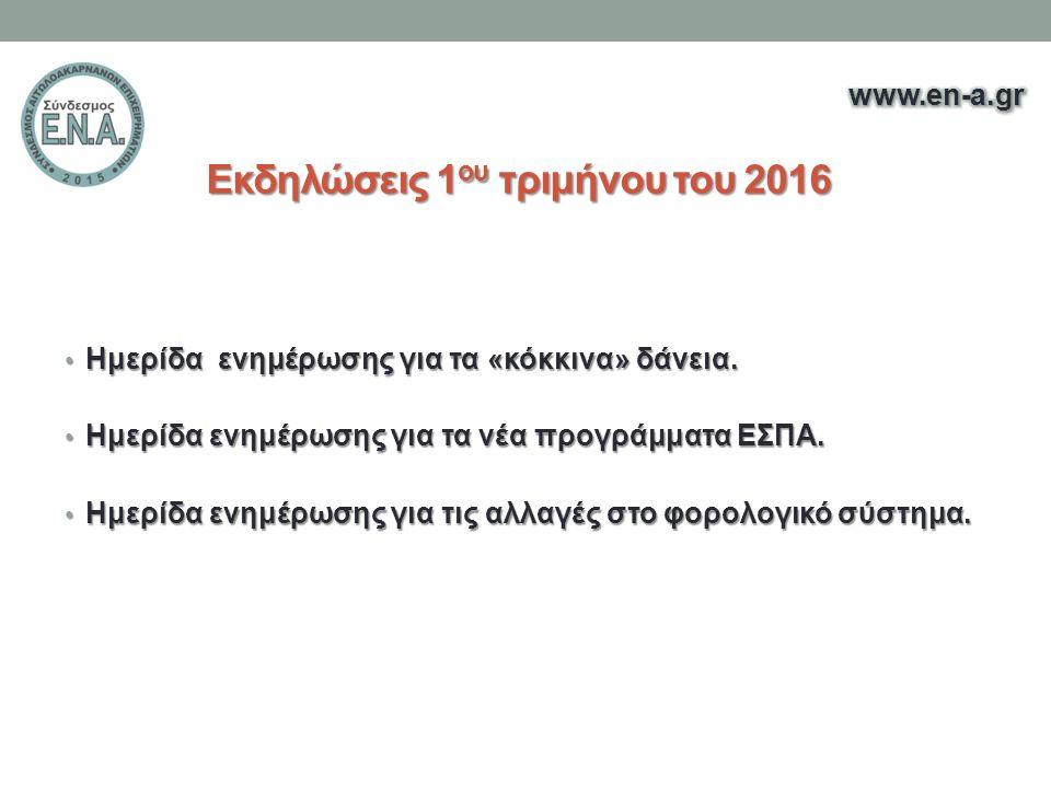 Εκδηλώσεις 1 ου τριμήνου του 2016 Ημερίδα ενημέρωσης για τα «κόκκινα» δάνεια.