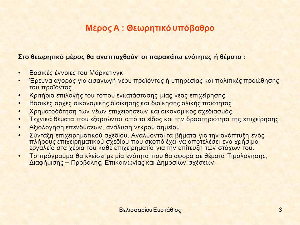 Βελισσαρίου Ευστάθιος3 Μέρος Α : Θεωρητικό υπόβαθρο Στο θεωρητικό μέρος θα αναπτυχθούν οι παρακάτω ενότητες ή θέματα : Βασικές έννοιες του Μάρκετινγκ.
