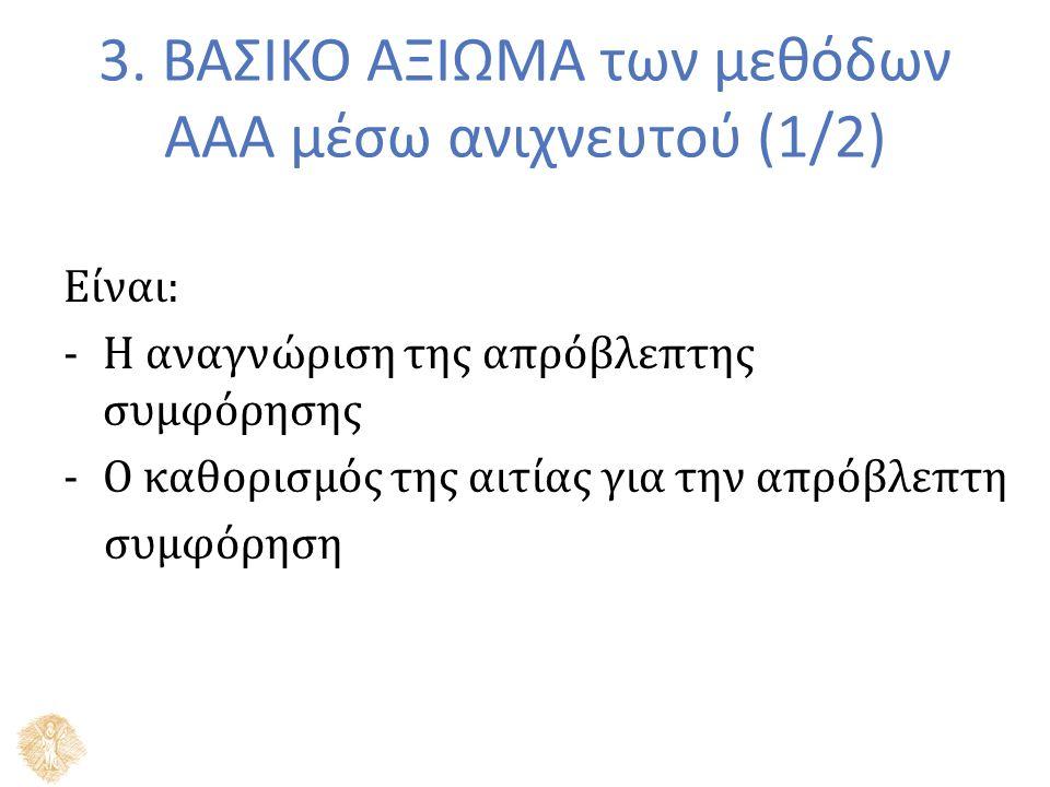 3. ΒΑΣΙΚΟ ΑΞΙΩΜΑ των μεθόδων ΑΑΑ μέσω ανιχνευτού (1/2) Είναι: -Η αναγνώριση της απρόβλεπτης συμφόρησης -Ο καθορισμός της αιτίας για την απρόβλεπτη συμ