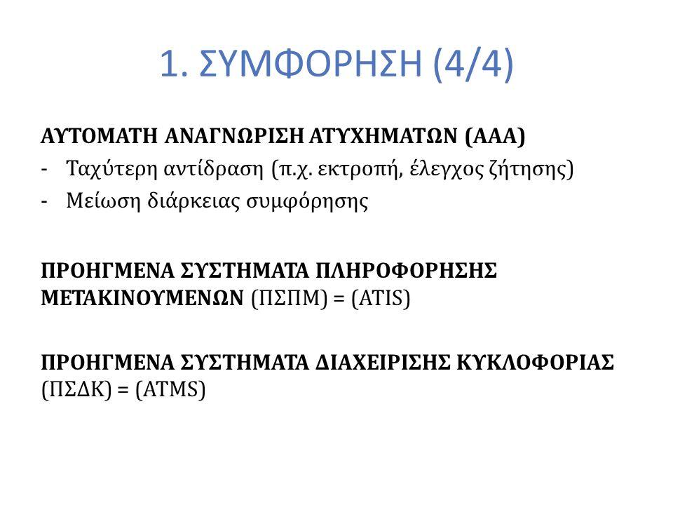 1. ΣΥΜΦΟΡΗΣΗ (4/4) ΑΥΤΟΜΑΤΗ ΑΝΑΓΝΩΡΙΣΗ ΑΤΥΧΗΜΑΤΩΝ (ΑΑΑ) -Ταχύτερη αντίδραση (π.χ.