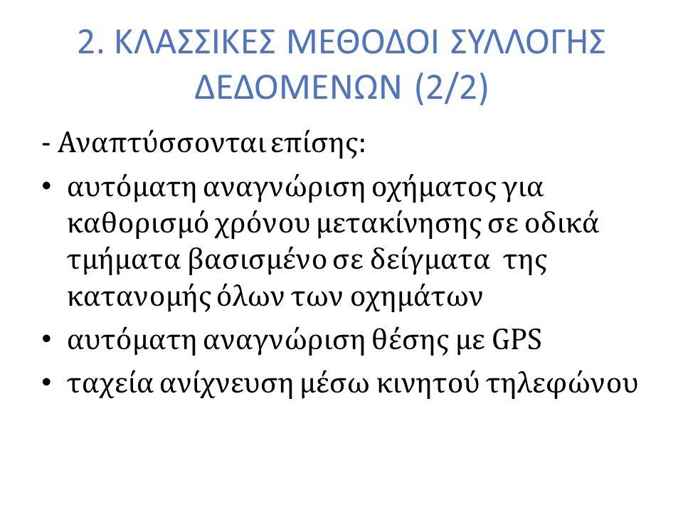 2. ΚΛΑΣΣΙΚΕΣ ΜΕΘΟΔΟΙ ΣΥΛΛΟΓΗΣ ΔΕΔΟΜΕΝΩΝ (2/2) - Αναπτύσσονται επίσης: αυτόματη αναγνώριση οχήματος για καθορισμό χρόνου μετακίνησης σε οδικά τμήματα β