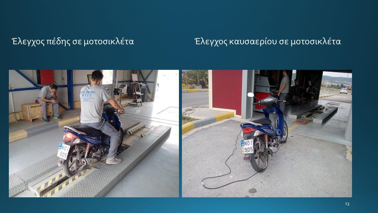 13 Έλεγχος πέδης σε μοτοσικλέτα Έλεγχος καυσαερίου σε μοτοσικλέτα
