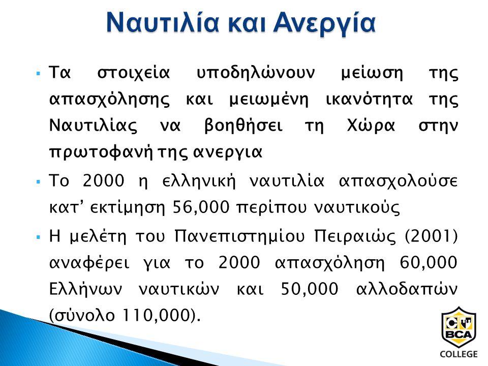  Τα στοιχεία υποδηλώνουν μείωση της απασχόλησης και μειωμένη ικανότητα της Ναυτιλίας να βοηθήσει τη Χώρα στην πρωτοφανή της ανεργια  Το 2000 η ελληνική ναυτιλία απασχολούσε κατ' εκτίμηση 56,000 περίπου ναυτικούς  Η μελέτη του Πανεπιστημίου Πειραιώς (2001) αναφέρει για το 2000 απασχόληση 60,000 Ελλήνων ναυτικών και 50,000 αλλοδαπών (σύνολο 110,000).