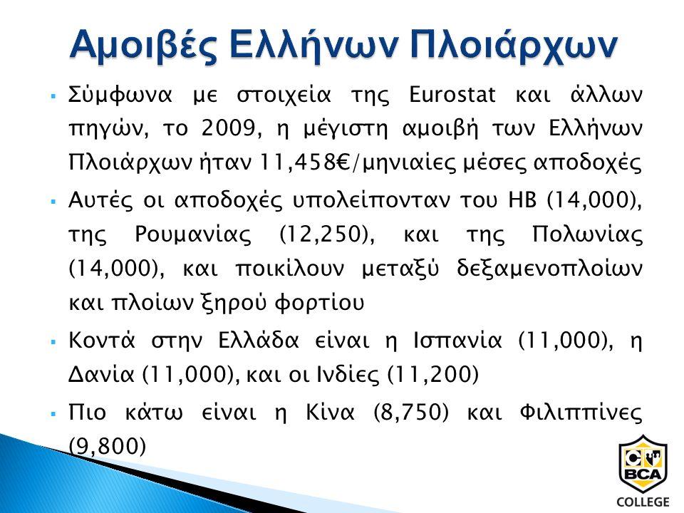  Σύμφωνα με στοιχεία της Eurostat και άλλων πηγών, το 2009, η μέγιστη αμοιβή των Ελλήνων Πλοιάρχων ήταν 11,458€/μηνιαίες μέσες αποδοχές  Αυτές οι αποδοχές υπολείπονταν του ΗΒ (14,000), της Ρουμανίας (12,250), και της Πολωνίας (14,000), και ποικίλουν μεταξύ δεξαμενοπλοίων και πλοίων ξηρού φορτίου  Κοντά στην Ελλάδα είναι η Ισπανία (11,000), η Δανία (11,000), και οι Ινδίες (11,200)  Πιο κάτω είναι η Κίνα (8,750) και Φιλιππίνες (9,800)