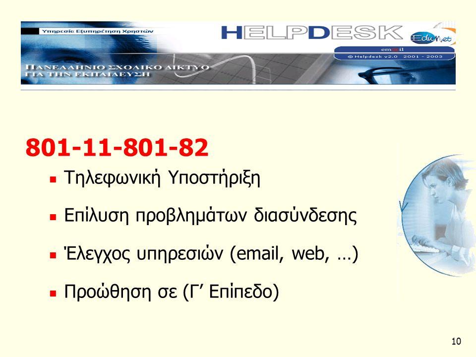 10 801-11-801-82 Τηλεφωνική Υποστήριξη Επίλυση προβλημάτων διασύνδεσης Έλεγχος υπηρεσιών (email, web, …) Προώθηση σε (Γ' Επίπεδο)
