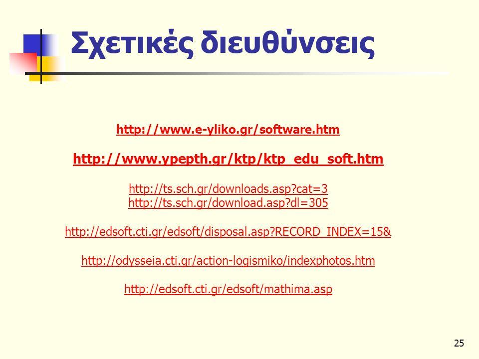25 Σχετικές διευθύνσεις http://www.e-yliko.gr/software.htm http://www.ypepth.gr/ktp/ktp_edu_soft.htm http://ts.sch.gr/downloads.asp?cat=3 http://ts.sc