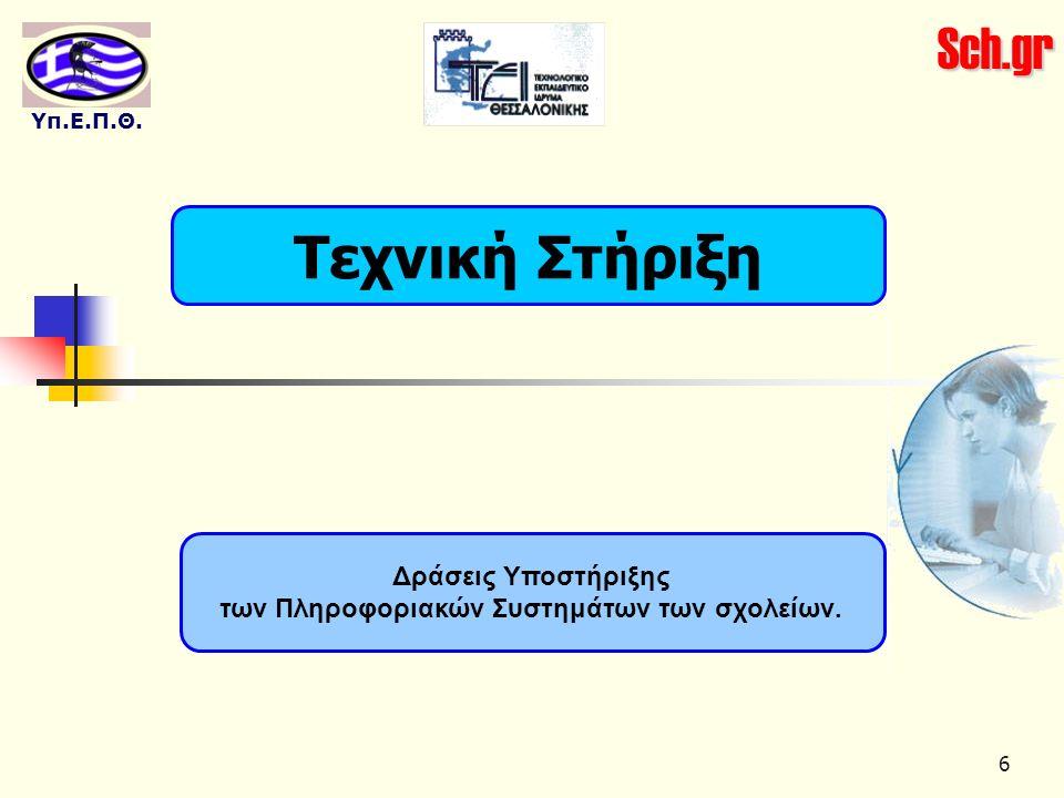 Sch.gr Υπ.Ε.Π.Θ. 6 Τεχνική Στήριξη Δράσεις Υποστήριξης των Πληροφοριακών Συστημάτων των σχολείων.