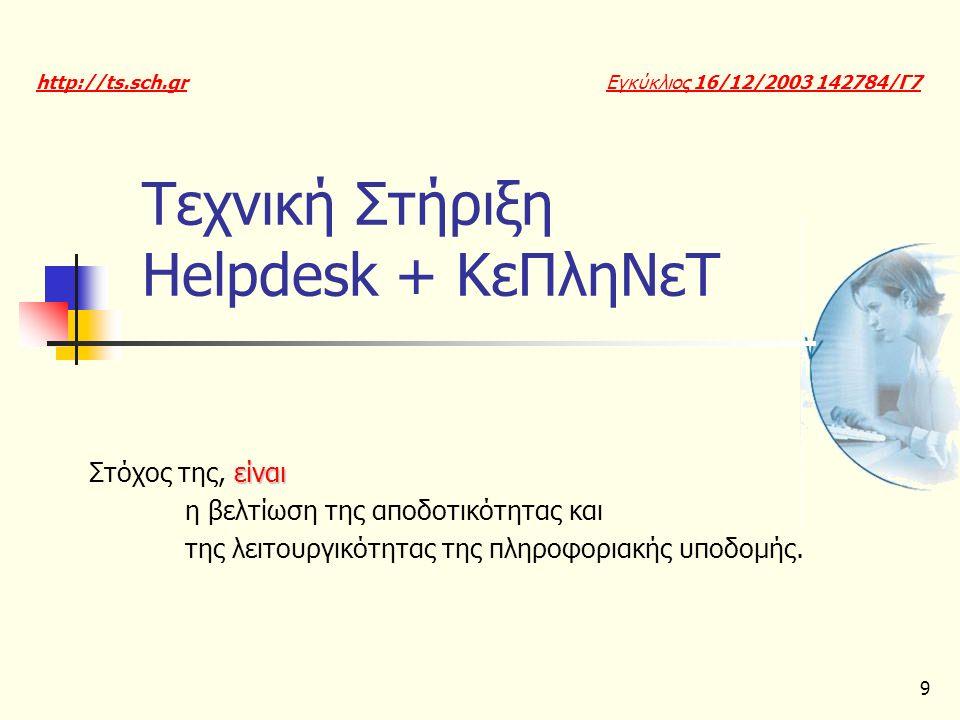 9 Τεχνική Στήριξη Ηelpdesk + ΚεΠληΝεΤ είναι Στόχος της, είναι η βελτίωση της αποδοτικότητας και της λειτουργικότητας της πληροφοριακής υποδομής. Εγκύκ