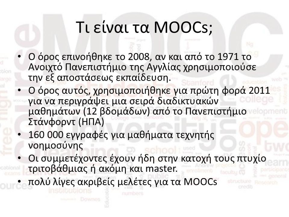 Συμπεράσματα έρευνας (6/6) Τέλος, οι θεσμικοί στόχοι και η αξιολόγηση θα βοηθήσουν στη χάραξη μιας σωστής πολιτικής περί MOOCs, παρέχοντας στους εκπαιδευτές τη δυνατότητα αντιμετώπισης οποιωνδήποτε προβλημάτων μέσω MOOCspaces.