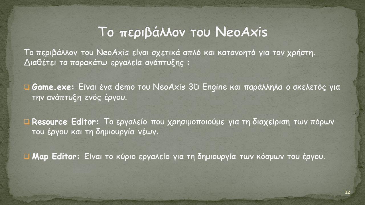Το περιβάλλον του NeoAxis είναι σχετικά απλό και κατανοητό για τον χρήστη.