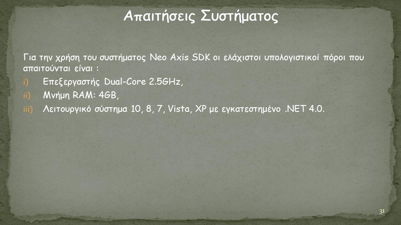 Για την χρήση του συστήματος Neo Axis SDK οι ελάχιστοι υπολογιστικοί πόροι που απαιτούνται είναι : i) Επεξεργαστής Dual-Core 2.5GHz, ii) Mνήμη RAM: 4GB, iii) Λειτουργικό σύστημα 10, 8, 7, Vista, XP με εγκατεστημένο.NET 4.0.