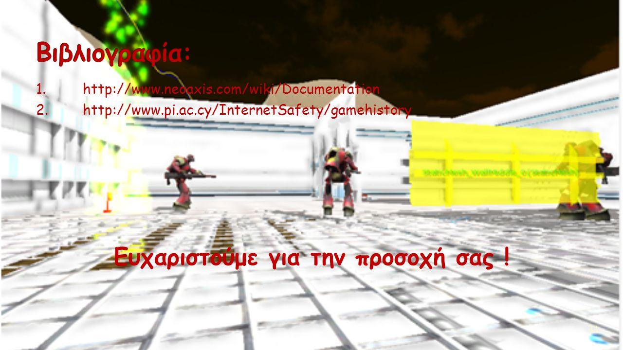 1.http://www.neoaxis.com/wiki/Documentation 2.http://www.pi.ac.cy/InternetSafety/gamehistory Ευχαριστούμε για την προσοχή σας .