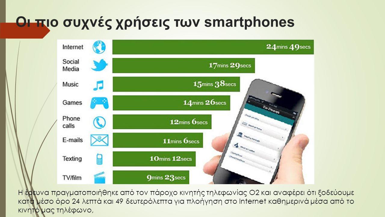 Οι πιο συχνές χρήσεις των smartphones Η έρευνα πραγματοποιήθηκε από τον πάροχο κινητής τηλεφωνίας Ο2 και αναφέρει ότι ξοδεύουμε κατά μέσο όρο 24 λεπτά και 49 δευτερόλεπτα για πλοήγηση στο Internet καθημερινά μέσα από το κινητό μας τηλέφωνο,