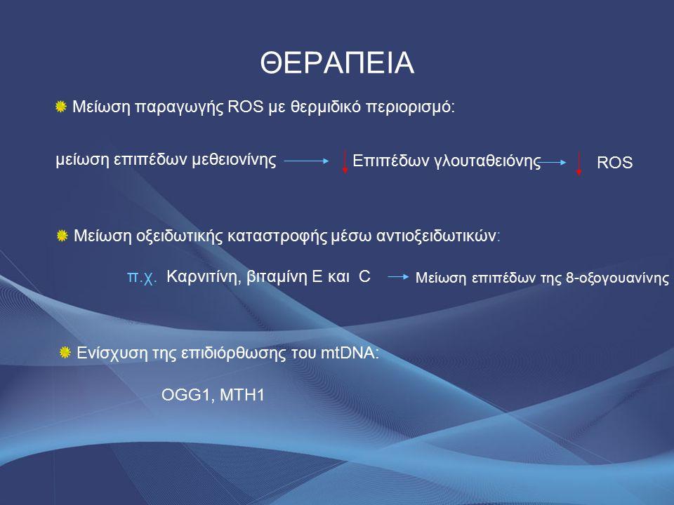 ΘΕΡΑΠΕΙΑ Μείωση παραγωγής ROS με θερμιδικό περιορισμό: Επιπέδων γλουταθειόνης μείωση επιπέδων μεθειονίνης ROS Μείωση οξειδωτικής καταστροφής μέσω αντιοξειδωτικών: π.χ.