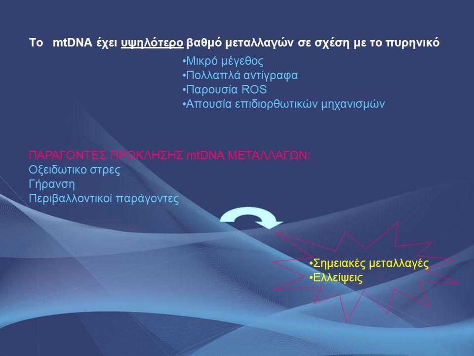 mtDNA μεταλλαγές - Διαβήτης Πρόκειται για μια ηλικιω-εξαρτώμενη νόσο με εκφυλιστικά χαρακτηριστικά Οφείλεται σε mtDNA τροποποιήσεις στο πάγκρεας και στους σκελετικούς μύες Παραγωγή ελευθέρων ριζών και αλκυλίωση του mtDNA ΑΣΘΕΝΕΙΕΣ ΜΙΤΟΧΟΝΔΡΙΑΚΗΣ ΑΙΤΙΟΛΟΓΙΑΣ ΚΛΙΝΙΚΑ ΧΑΡΑΚΤΗΡΙΣΤΙΚΑ ΓΟΝΟΤΥΠΟΣ mtDNA ΓΟΝΙΔΙΟΤΥΠΟΣ Σύνδρομο Kearns-SayreΜυοπάθεια, οφθαλμοπληγί α, καρδιομυοπάθεια Μια έλλειψη μεγάλου μήκους Ποικίλα γονίδιαετεροπλασμική CΡΕΟ (σποραδική εξωγενής οφθαλμοπληγία) οφθαλμοπληγίαΜια έλλειψη μεγάλου μήκους POLG, TWINKL E, ΑΝΤ1 ετεροπλασμική Σύνδρομο PearsonΓαλακτική οξείδωση, παγκυτταροπε νία Μια έλλειψη μεγάλου μήκους Ποικίλα γονίδιαετεροπλασμική Σύνδρομο LeighΕγκεφαλοπάθεια, γαλακτική οξέωση 10158 T>C 10191 T>C ND3 Ετεροπλασμική