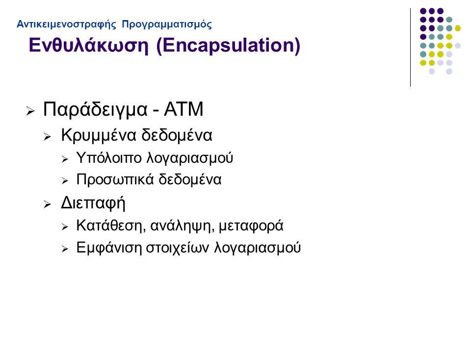 Ενθυλάκωση (Encapsulation) Αντικειμενοστραφής Προγραμματισμός  Παράδειγμα - ΑΤΜ  Κρυμμένα δεδομένα  Υπόλοιπο λογαριασμού  Προσωπικά δεδομένα  Διεπαφή  Κατάθεση, ανάληψη, μεταφορά  Εμφάνιση στοιχείων λογαριασμού