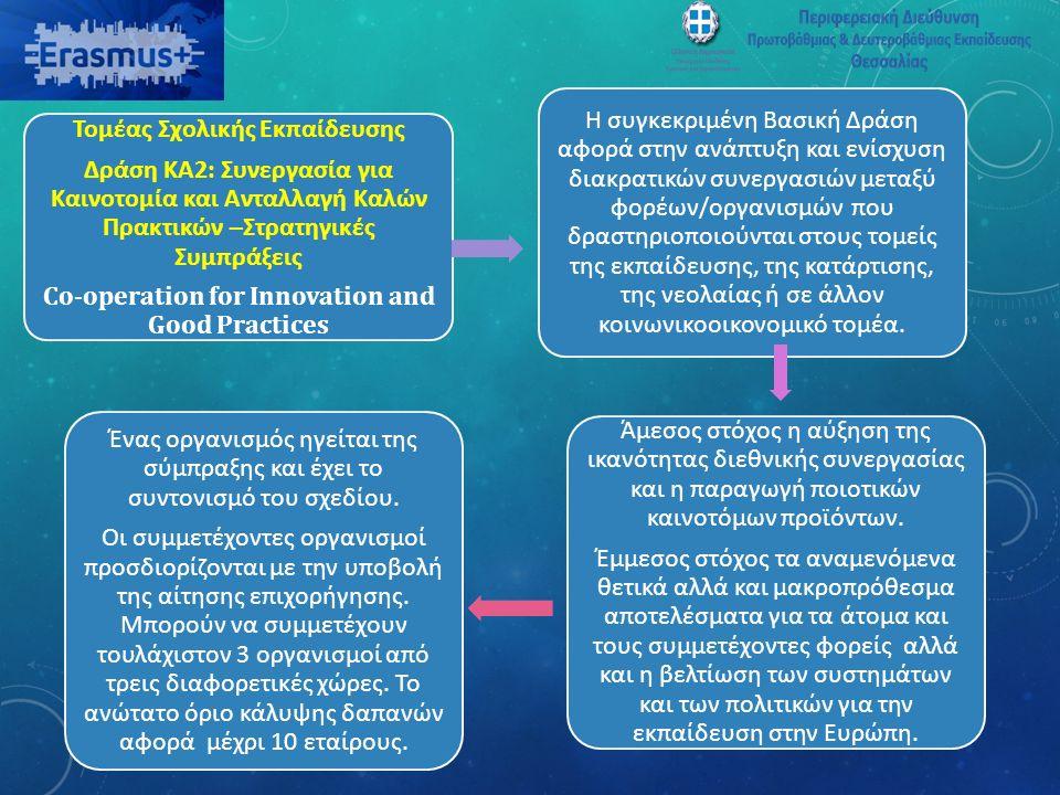 Τομέας Σχολικής Εκπαίδευσης Δράση ΚΑ2: Συνεργασία για Καινοτομία και Ανταλλαγή Καλών Πρακτικών –Στρατηγικές Συμπράξεις Co-operation for Innovation and Good Practices Η συγκεκριμένη Βασική Δράση αφορά στην ανάπτυξη και ενίσχυση διακρατικών συνεργασιών μεταξύ φορέων/οργανισμών που δραστηριοποιούνται στους τομείς της εκπαίδευσης, της κατάρτισης, της νεολαίας ή σε άλλον κοινωνικοοικονομικό τομέα.