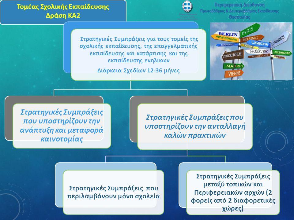 Τομέας Σχολικής Εκπαίδευσης Δράση ΚΑ2 Στρατηγικές Συμπράξεις για τους τομείς της σχολικής εκπαίδευσης, της επαγγελματικής εκπαίδευσης και κατάρτισης και της εκπαίδευσης ενηλίκων Διάρκεια Σχεδίων 12-36 μήνες Στρατηγικές Συμπράξεις που υποστηρίζουν την ανάπτυξη και μεταφορά καινοτομίας Στρατηγικές Συμπράξεις που υποστηρίζουν την ανταλλαγή καλών πρακτικών Στρατηγικές Συμπράξεις που περιλαμβάνουν μόνο σχολεία Στρατηγικές Συμπράξεις μεταξύ τοπικών και Περιφερειακών αρχών (2 φορείς από 2 διαφορετικές χώρες)