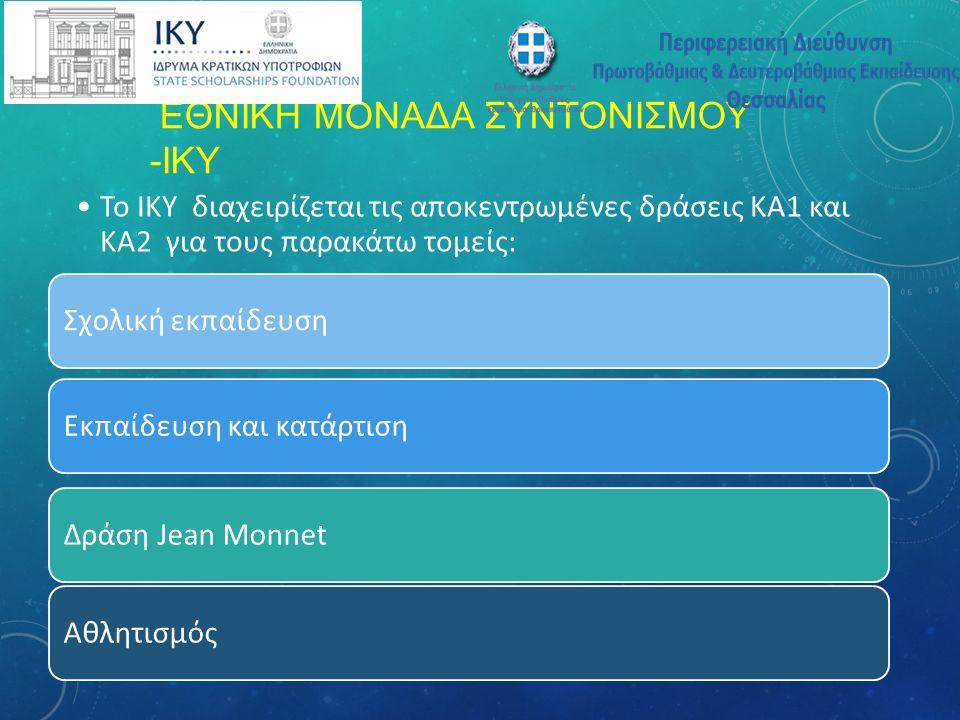 ΕΘΝΙΚΗ ΜΟΝΑΔΑ ΣΥΝΤΟΝΙΣΜΟΥ -ΙΚΥ Σχολική εκπαίδευση Το ΙΚΥ διαχειρίζεται τις αποκεντρωμένες δράσεις ΚΑ1 και ΚΑ2 για τους παρακάτω τομείς: Εκπαίδευση και κατάρτισηΔράση Jean MonnetΑθλητισμός