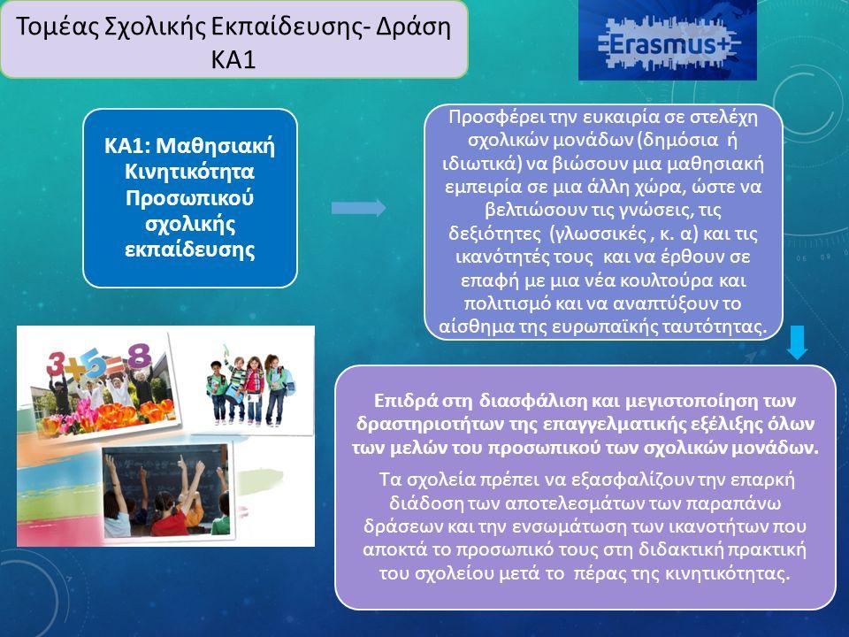 ΚΑ1: Μαθησιακή Κινητικότητα Προσωπικού σχολικής εκπαίδευσης Προσφέρει την ευκαιρία σε στελέχη σχολικών μονάδων (δημόσια ή ιδιωτικά) να βιώσουν μια μαθησιακή εμπειρία σε μια άλλη χώρα, ώστε να βελτιώσουν τις γνώσεις, τις δεξιότητες (γλωσσικές, κ.