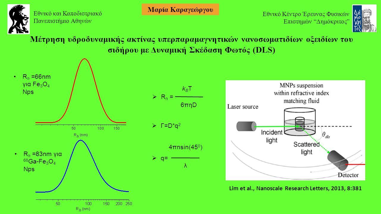R h =66nm για Fe 3 O 4 Nps R h =83nm για 68 Ga-Fe 3 O 4 Nps k B T  R h = 6πηD  Γ=D*q 2 4πnsin(45 0 )  q= λ Μέτρηση υδροδυναμικής ακτίνας υπερπαραμαγνητικών νανοσωματιδίων οξειδίων του σιδήρου με Δυναμική Σκέδαση Φωτός (DLS) Lim et al., Nanoscale Research Letters, 2013, 8:381 Εθνικό και Καποδιστριακό Πανεπιστήμιο Αθηνών Εθνικό Κέντρο Έρευνας Φυσικών Επιστημών Δημόκριτος Μαρία Καραγεώργου