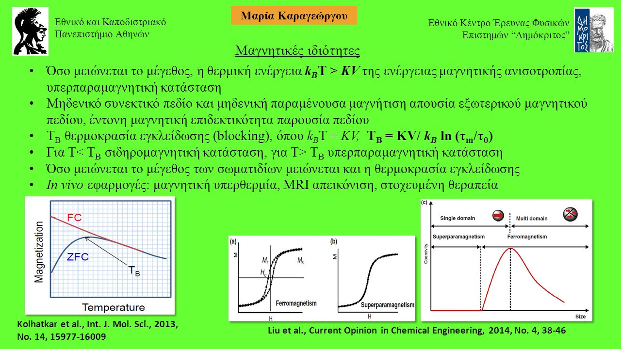 Μαγνητικές ιδιότητες Όσο μειώνεται το μέγεθος, η θερμική ενέργεια k B T > KV της ενέργειας μαγνητικής ανισοτροπίας, υπερπαραμαγνητική κατάσταση Μηδενικό συνεκτικό πεδίο και μηδενική παραμένουσα μαγνήτιση απουσία εξωτερικού μαγνητικού πεδίου, έντονη μαγνητική επιδεκτικότητα παρουσία πεδίου Τ Β θερμοκρασία εγκλείδωσης (blocking), όπου k B T = KV, Τ Β = KV/ k B ln (τ m /τ 0 ) Για Τ Τ Β υπερπαραμαγνητική κατάσταση Όσο μειώνεται το μέγεθος των σωματιδίων μειώνεται και η θερμοκρασία εγκλείδωσης In vivo εφαρμογές: μαγνητική υπερθερμία, MRI απεικόνιση, στοχευμένη θεραπεία Liu et al., Current Opinion in Chemical Engineering, 2014, No.