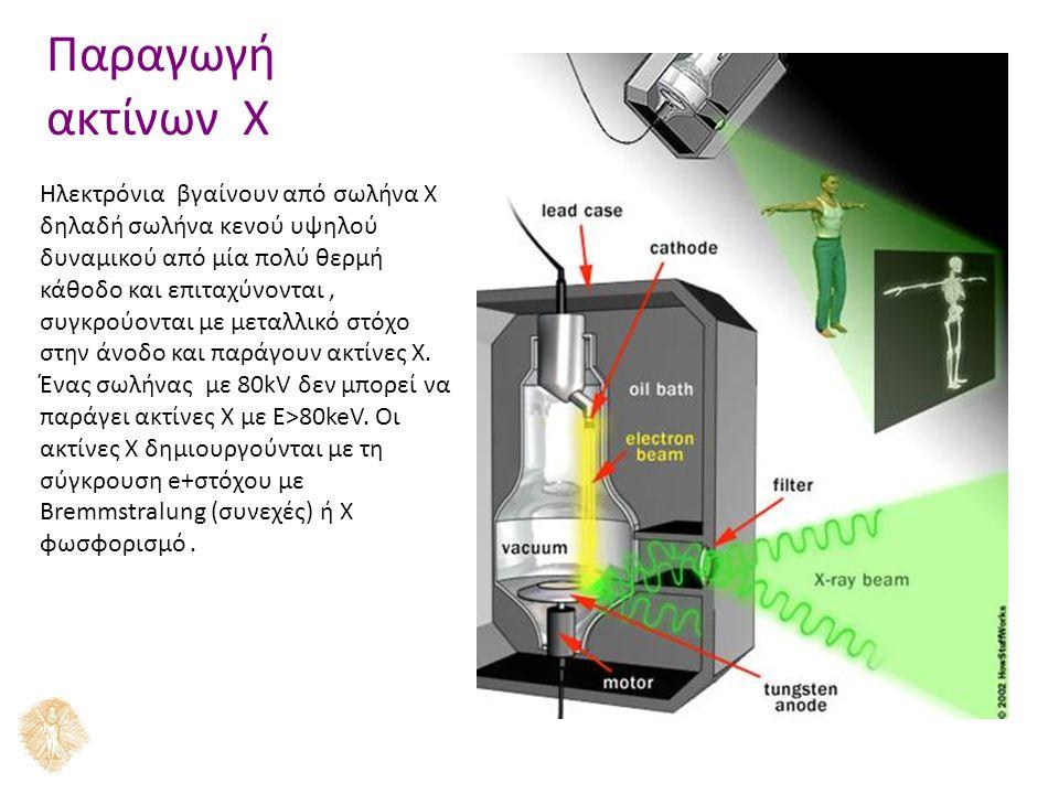 Παραγωγή ακτίνων X Ηλεκτρόνια βγαίνουν από σωλήνα Χ δηλαδή σωλήνα κενού υψηλού δυναμικού από μία πολύ θερμή κάθοδο και επιταχύνονται, συγκρούονται με μεταλλικό στόχο στην άνοδο και παράγουν ακτίνες Χ.