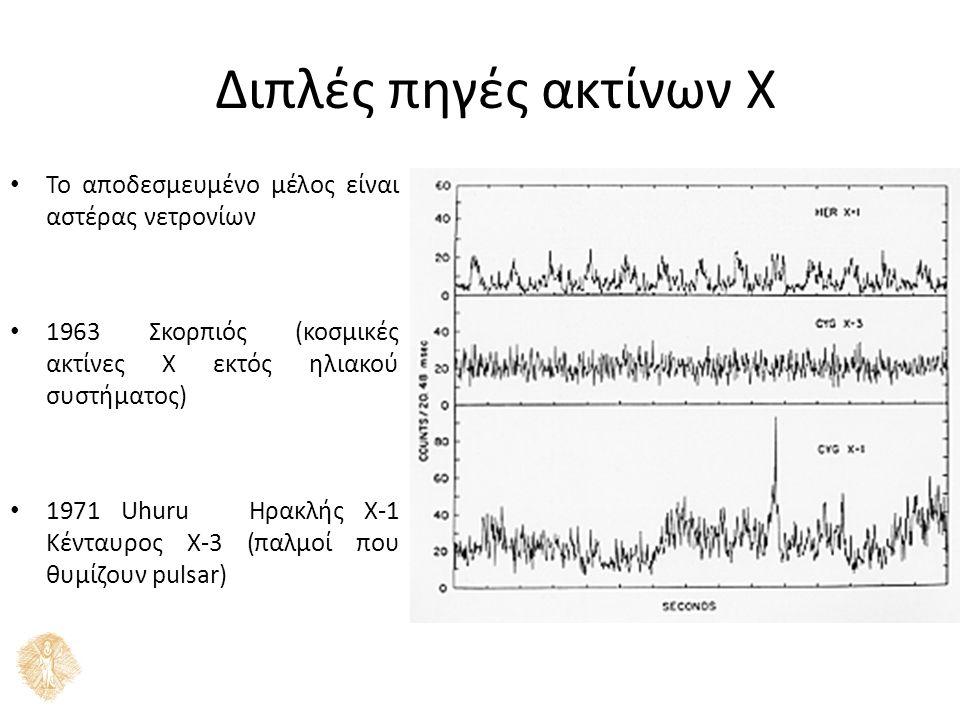 Διπλές πηγές ακτίνων Χ Το αποδεσμευμένο μέλος είναι αστέρας νετρονίων 1963 Σκορπιός (κοσμικές ακτίνες Χ εκτός ηλιακού συστήματος) 1971 Uhuru Ηρακλής Χ-1 Κένταυρος Χ-3 (παλμοί που θυμίζουν pulsar)
