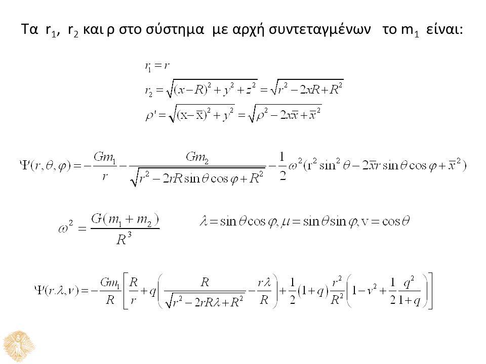 Τα r 1, r 2 και ρ στο σύστημα με αρχή συντεταγμένων το m 1 είναι:
