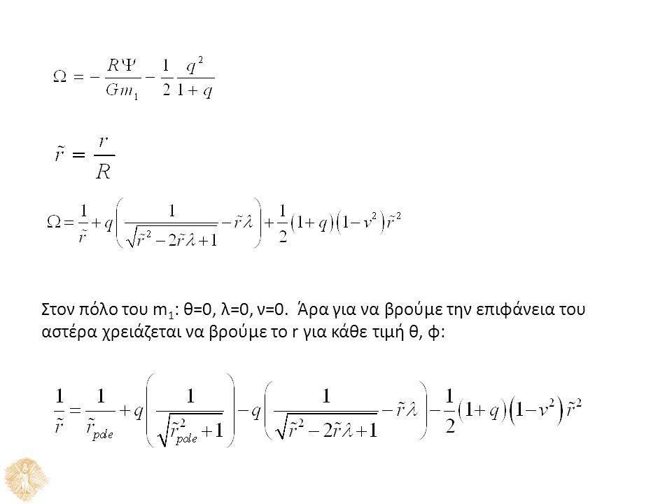 Στον πόλο του m 1 : θ=0, λ=0, ν=0.