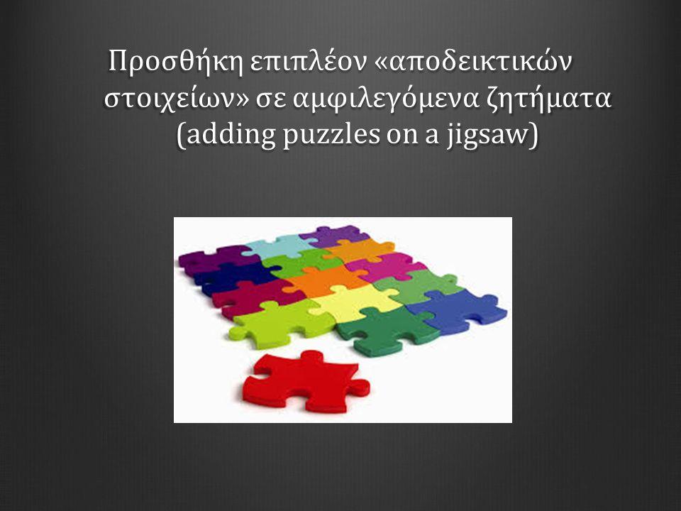 Προσθήκη επιπλέον «αποδεικτικών στοιχείων» σε αμφιλεγόμενα ζητήματα (adding puzzles on a jigsaw)