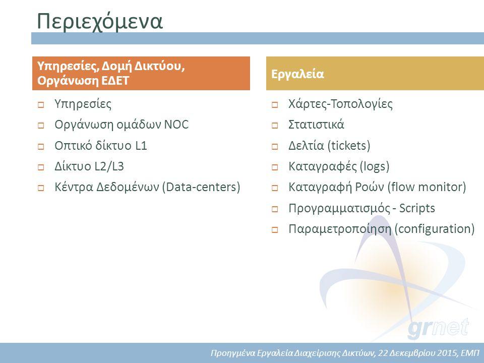 Περιεχόμενα  Υπηρεσίες  Οργάνωση ομάδων NOC  Οπτικό δίκτυο L1  Δίκτυο L2/L3  Κέντρα Δεδομένων (Data-centers)  Χάρτες-Τοπολογίες  Στατιστικά  Δελτία (tickets)  Καταγραφές (logs)  Καταγραφή Ροών (flow monitor)  Προγραμματισμός - Scripts  Παραμετροποίηση (configuration) Υπηρεσίες, Δομή Δικτύου, Οργάνωση ΕΔΕΤ Εργαλεία Προηγμένα Εργαλεία Διαχείρισης Δικτύων, 22 Δεκεμβρίου 2015, ΕΜΠ