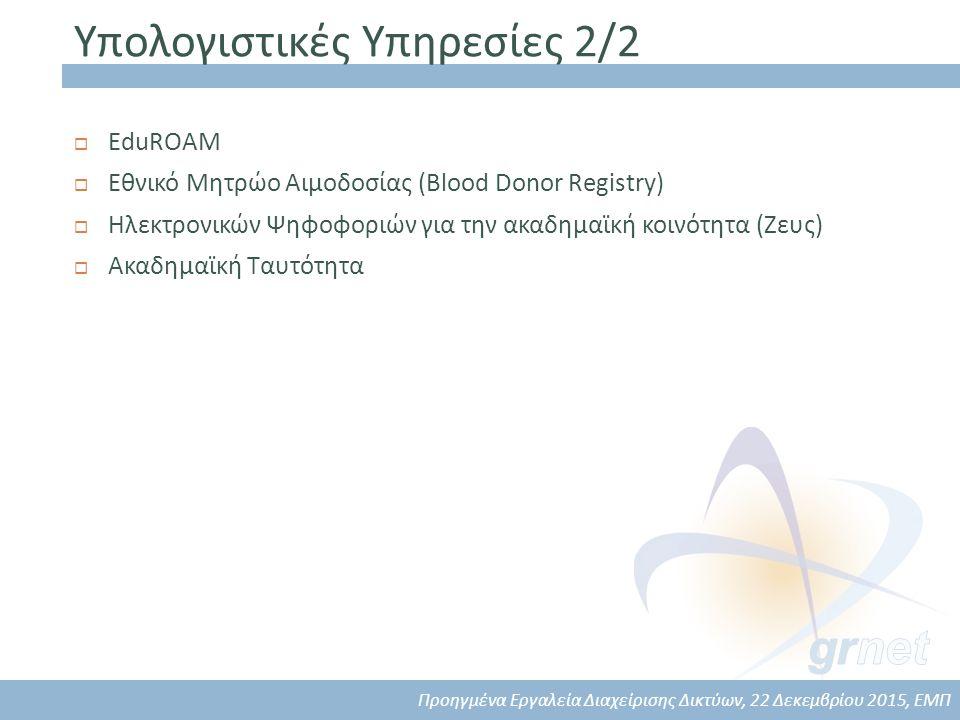 Υπολογιστικές Υπηρεσίες 2/2  EduROAM  Εθνικό Μητρώο Αιμοδοσίας (Blood Donor Registry)  Ηλεκτρονικών Ψηφοφοριών για την ακαδημαϊκή κοινότητα (Ζευς)  Ακαδημαϊκή Ταυτότητα Προηγμένα Εργαλεία Διαχείρισης Δικτύων, 22 Δεκεμβρίου 2015, ΕΜΠ