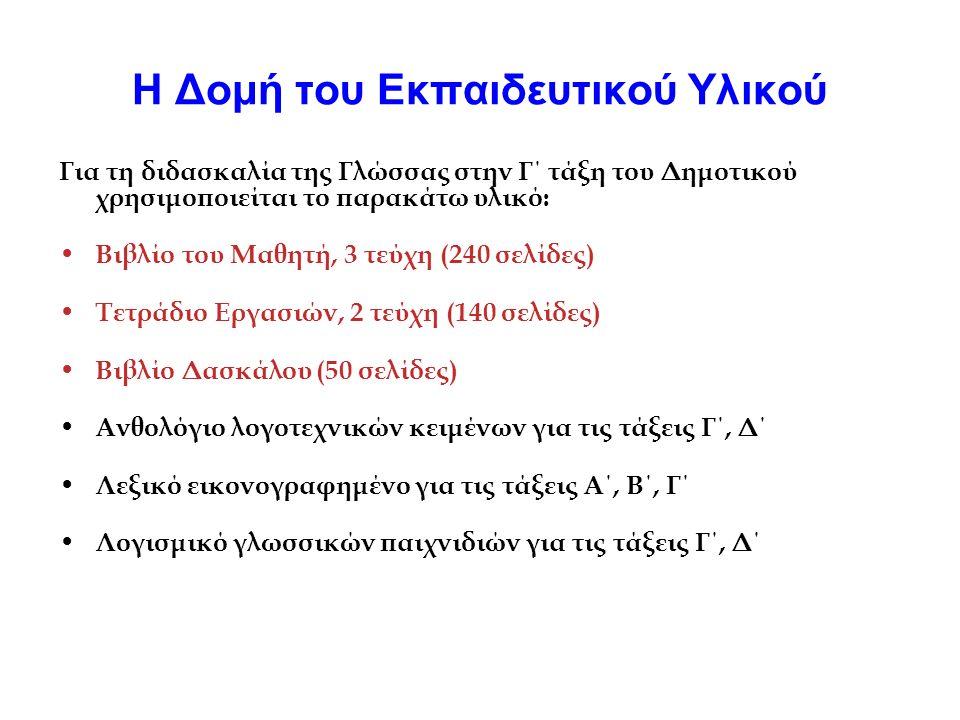 Η Δομή του Εκπαιδευτικού Υλικού Για τη διδασκαλία της Γλώσσας στην Γ΄ τάξη του Δημοτικού χρησιμοποιείται το παρακάτω υλικό: Βιβλίο του Μαθητή, 3 τεύχη (240 σελίδες) Τετράδιο Εργασιών, 2 τεύχη (140 σελίδες) Βιβλίο Δασκάλου (50 σελίδες) Ανθολόγιο λογοτεχνικών κειμένων για τις τάξεις Γ΄, Δ΄ Λεξικό εικονογραφημένο για τις τάξεις Α΄, Β΄, Γ΄ Λογισμικό γλωσσικών παιχνιδιών για τις τάξεις Γ΄, Δ΄