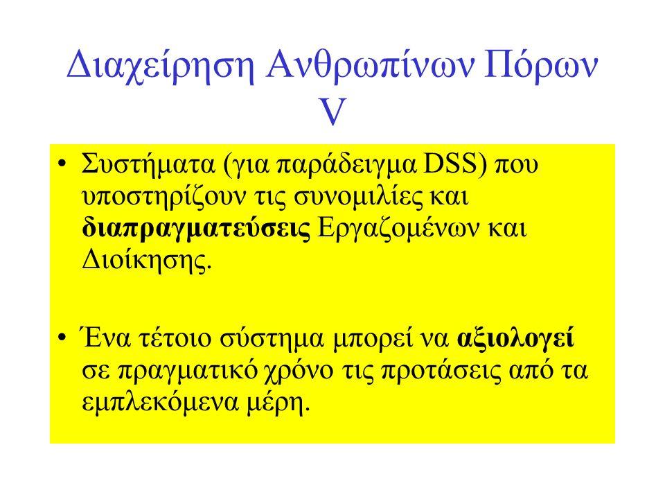 Διαχείρηση Ανθρωπίνων Πόρων V Συστήματα (για παράδειγμα DSS) που υποστηρίζουν τις συνομιλίες και διαπραγματεύσεις Εργαζομένων και Διοίκησης.