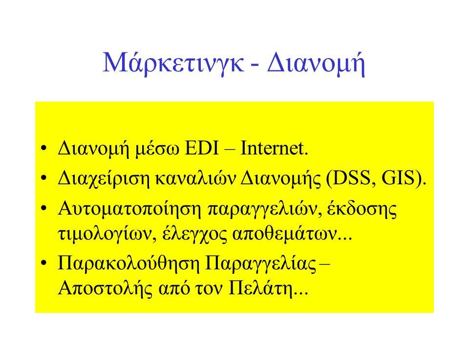 Μάρκετινγκ - Διανομή Διανομή μέσω EDI – Internet. Διαχείριση καναλιών Διανομής (DSS, GIS).
