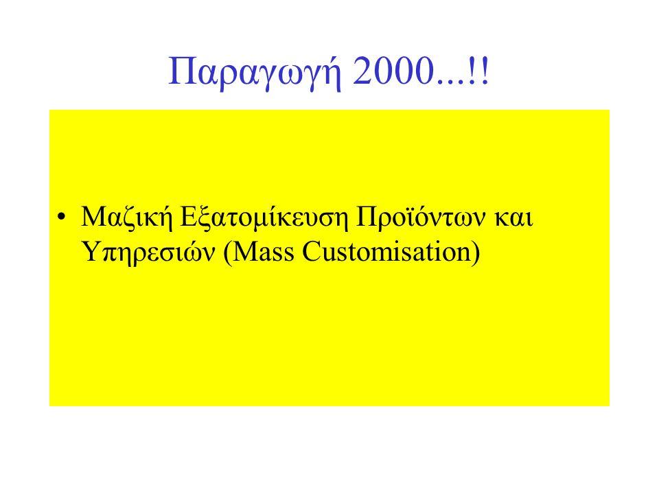 Παραγωγή 2000...!! Μαζική Εξατομίκευση Προϊόντων και Υπηρεσιών (Mass Customisation)
