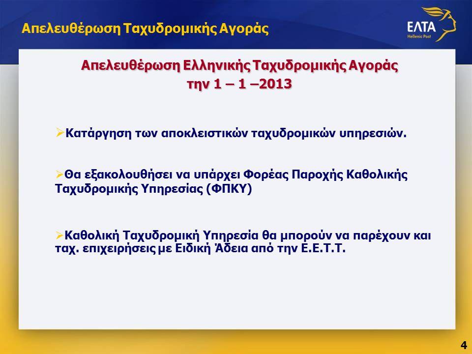 Απελευθέρωση Ταχυδρομικής Αγοράς  Κατάργηση των αποκλειστικών ταχυδρομικών υπηρεσιών.