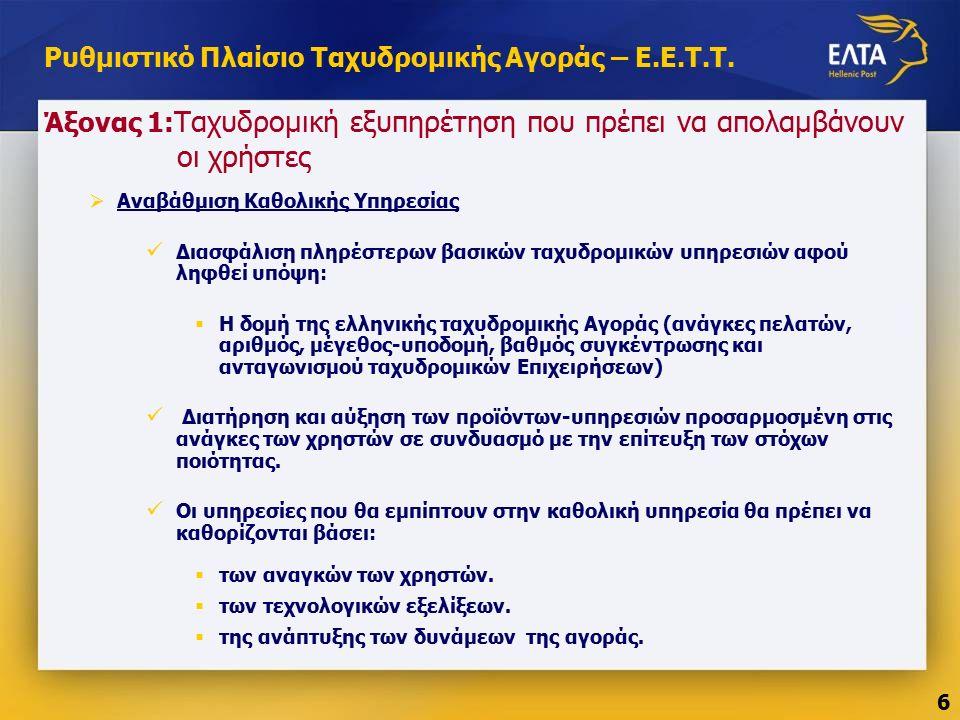 Άξονας 1: Ταχυδρομική εξυπηρέτηση που πρέπει να απολαμβάνουν οι χρήστες  Αναβάθμιση Καθολικής Υπηρεσίας Διασφάλιση πληρέστερων βασικών ταχυδρομικών υπηρεσιών αφού ληφθεί υπόψη:  Η δομή της ελληνικής ταχυδρομικής Αγοράς (ανάγκες πελατών, αριθμός, μέγεθος-υποδομή, βαθμός συγκέντρωσης και ανταγωνισμού ταχυδρομικών Επιχειρήσεων) Διατήρηση και αύξηση των προϊόντων-υπηρεσιών προσαρμοσμένη στις ανάγκες των χρηστών σε συνδυασμό με την επίτευξη των στόχων ποιότητας.