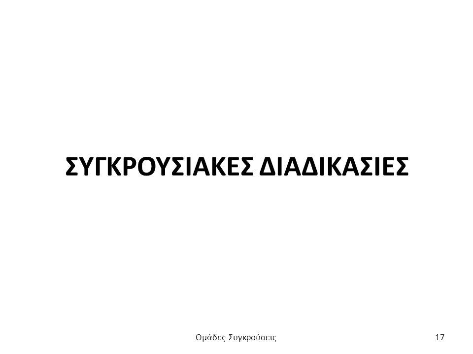 ΣΥΓΚΡΟΥΣΙΑΚΕΣ ΔΙΑΔΙΚΑΣΙΕΣ Ομάδες-Συγκρούσεις17