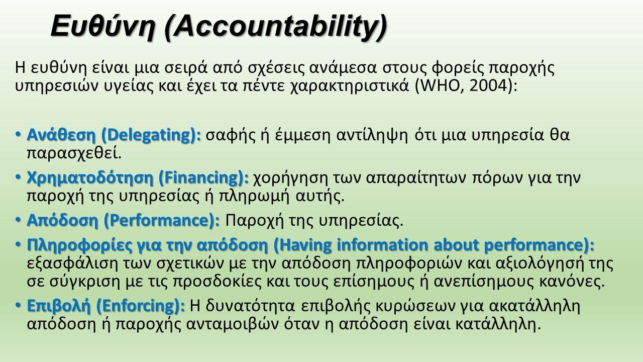 Ευθύνη (Accountability) Η ευθύνη είναι μια σειρά από σχέσεις ανάμεσα στους φορείς παροχής υπηρεσιών υγείας και έχει τα πέντε χαρακτηριστικά (WHO, 2004): Aνάθεση (Delegating): Aνάθεση (Delegating): σαφής ή έμμεση αντίληψη ότι μια υπηρεσία θα παρασχεθεί.