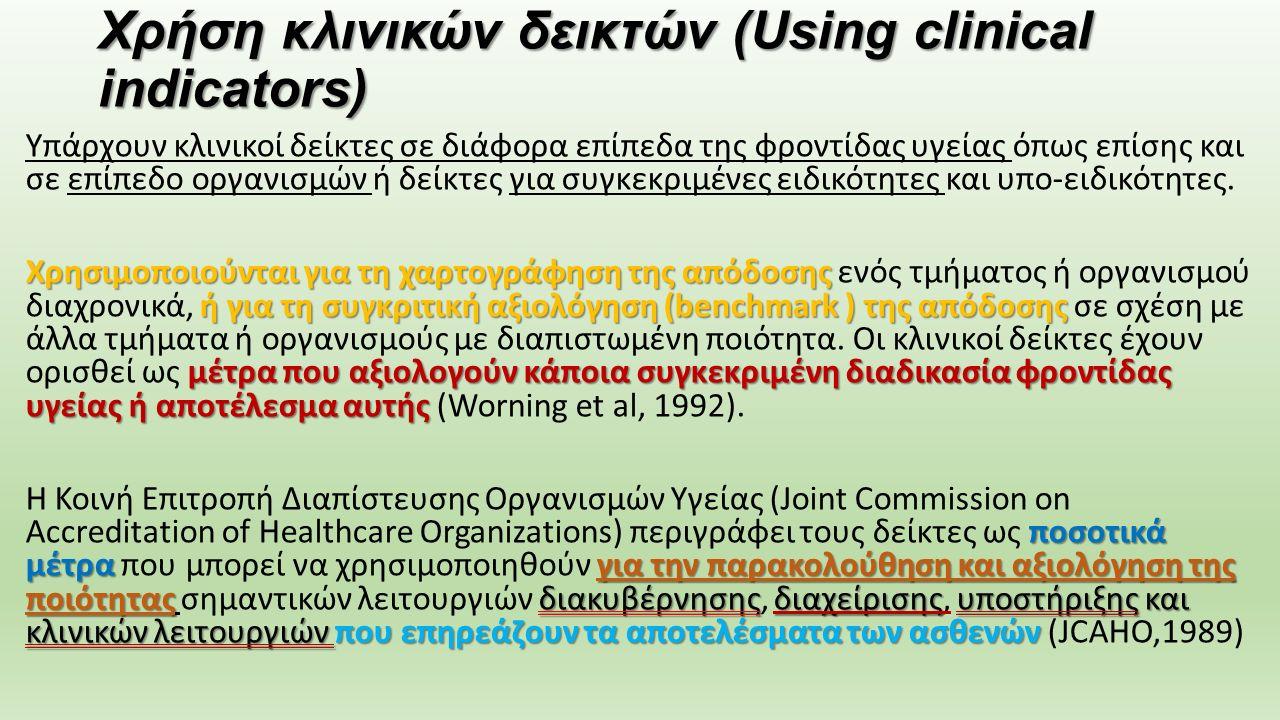 Χρήση κλινικών δεικτών (Using clinical indicators) Υπάρχουν κλινικοί δείκτες σε διάφορα επίπεδα της φροντίδας υγείας όπως επίσης και σε επίπεδο οργανι
