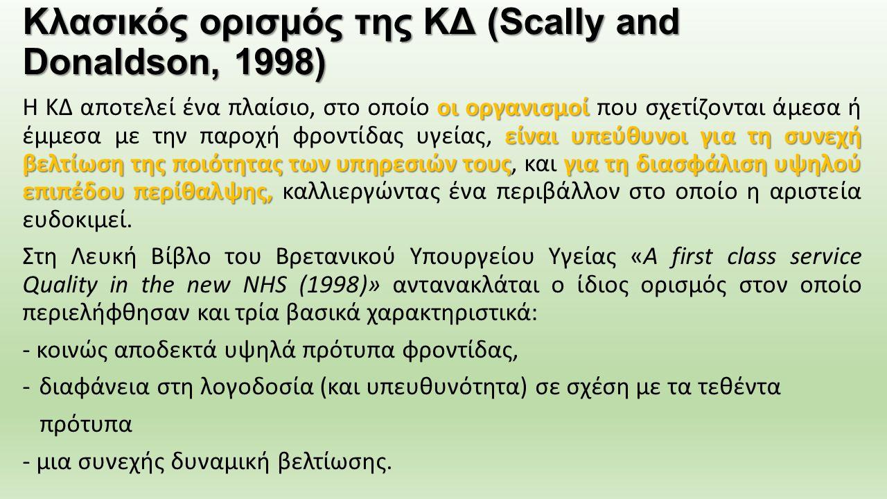 Κλασικός ορισμός της ΚΔ (Scally and Donaldson, 1998) οι οργανισμοί είναι υπεύθυνοι για τη συνεχή βελτίωση της ποιότητας των υπηρεσιών τουςγια τη διασφ