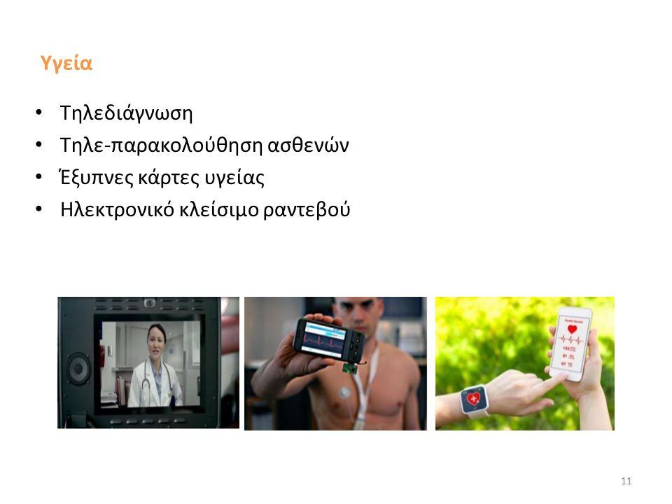 Υγεία Τηλεδιάγνωση Τηλε-παρακολούθηση ασθενών Έξυπνες κάρτες υγείας Ηλεκτρονικό κλείσιμο ραντεβού 11