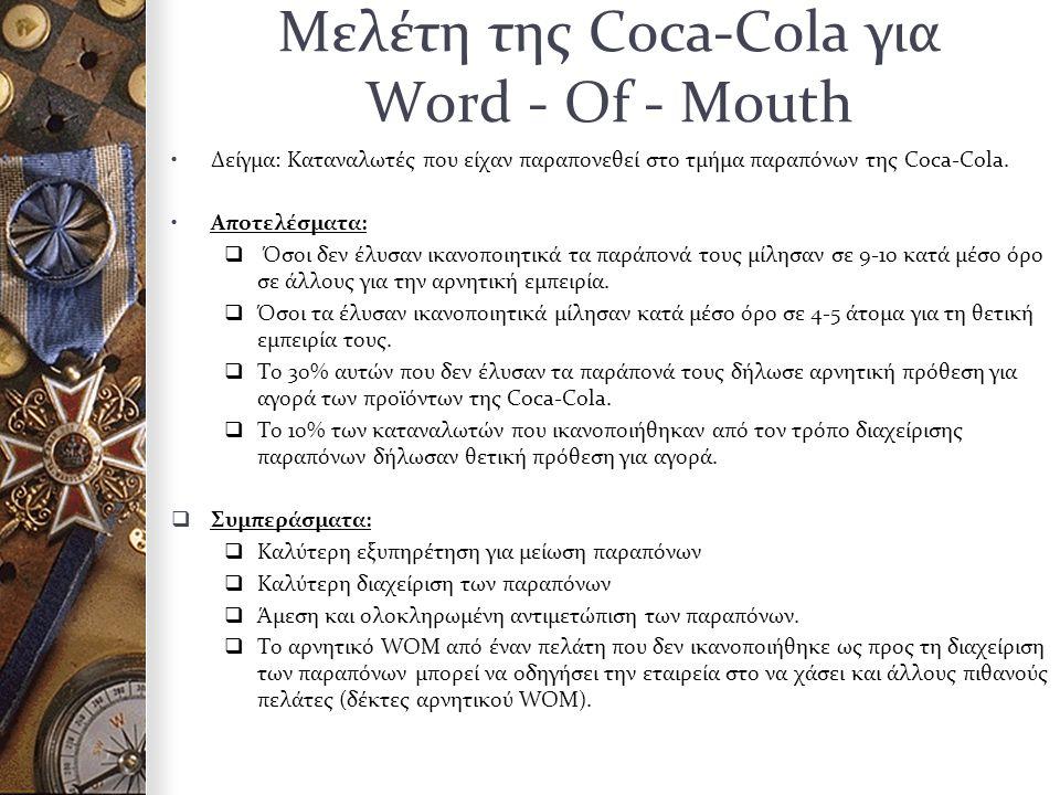 Μελέτη της Coca-Cola για Word - Of - Mouth Δείγμα: Καταναλωτές που είχαν παραπονεθεί στο τμήμα παραπόνων της Coca-Cola.