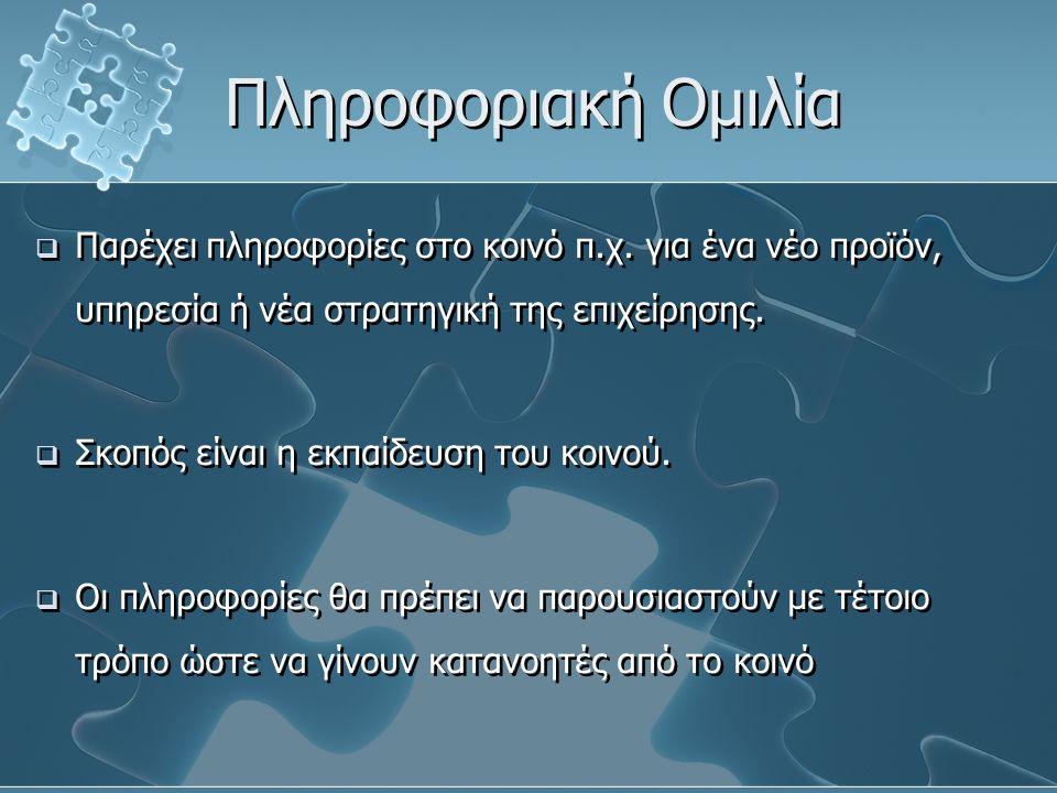 Πληροφοριακή Ομιλία  Παρέχει πληροφορίες στο κοινό π.χ.