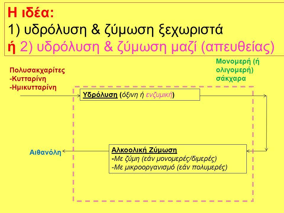 H ιδέα: 1) υδρόλυση & ζύμωση ξεχωριστά ή 2) υδρόλυση & ζύμωση μαζί (απευθείας) Υδρόλυση (όξινη ή ενζυμική) Πολυσακχαρίτες -Κυτταρίνη -Ημικυτταρίνη Αλκοολική Ζύμωση -Με ζύμη (εάν μονομερές/διμερές) -Με μικροοργανισμό (εάν πολυμερές) Αιθανόλη Μονομερή (ή ολιγομερή) σάκχαρα