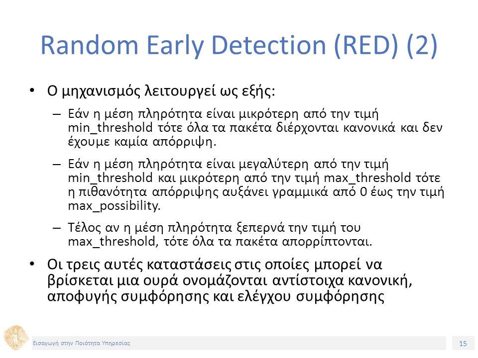 15 Εισαγωγή στην Ποιότητα Υπηρεσίας Random Early Detection (RED) (2) O μηχανισμός λειτουργεί ως εξής: – Εάν η μέση πληρότητα είναι μικρότερη από την τ