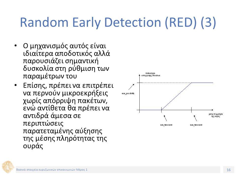 16 Βασικά στοιχεία ευρυζωνικών επικοινωνιών Μέρος 1 Random Early Detection (RED) (3) O μηχανισμός αυτός είναι ιδιαίτερα αποδοτικός αλλά παρουσιάζει ση