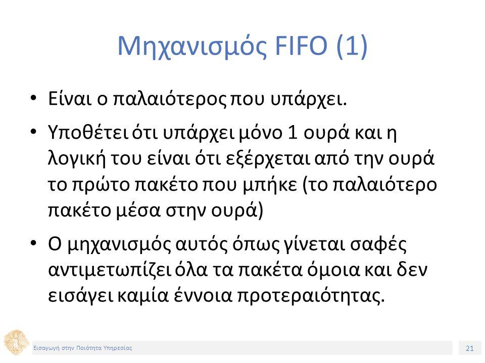 21 Εισαγωγή στην Ποιότητα Υπηρεσίας Μηχανισμός FIFO (1) Είναι ο παλαιότερος που υπάρχει. Υποθέτει ότι υπάρχει μόνο 1 ουρά και η λογική του είναι ότι ε